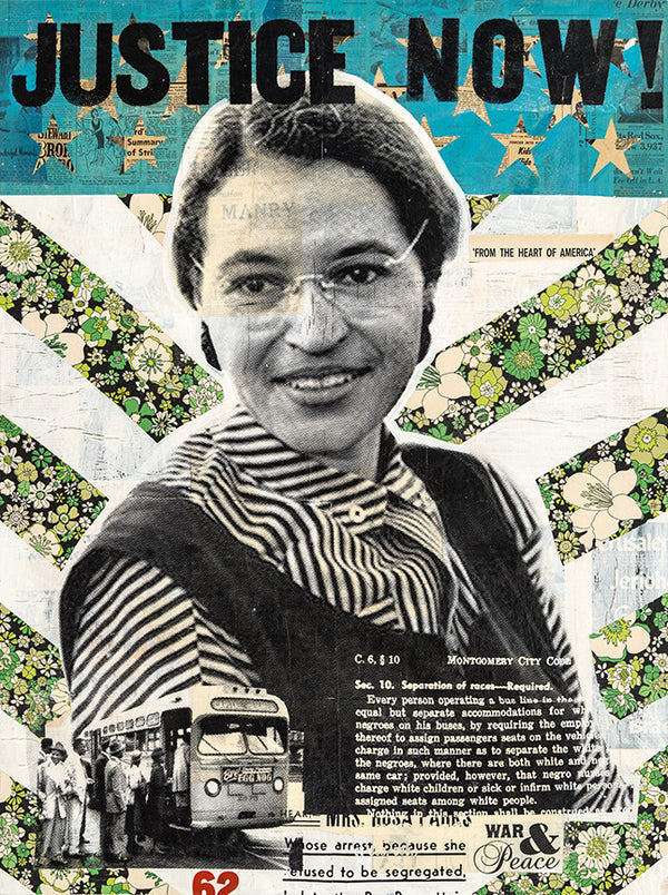 """Justice Now!"" - Rosa Parks by Robert Mars - Original Mixed Media and Resin on Wood"