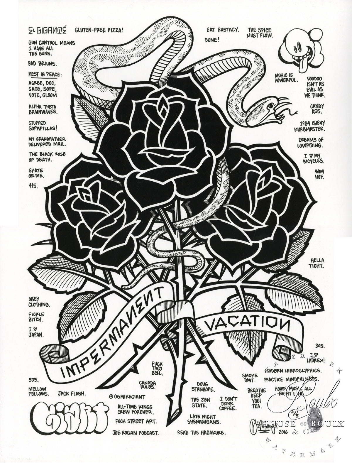 "Mike Giant ""Black Roses (Impermanent Vacation)"" - Hand-Embellished Unique Print, #3/5 - 24 x 36"