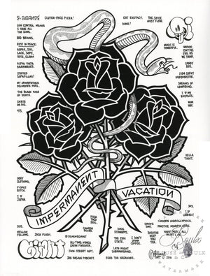 """Black Roses (Impermanent Vacation)"" by Mike Giant - Hand-Embellished Unique Print, #3/5 - 24 x 36"