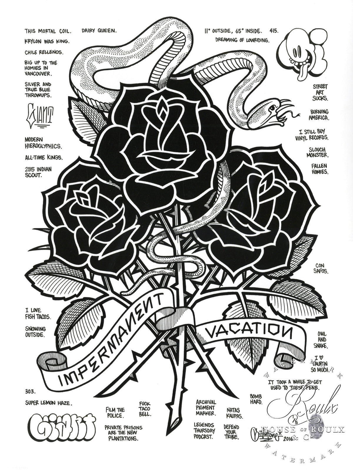 "Mike Giant ""Black Roses (Impermanent Vacation)"" - Hand-Embellished Unique Print, #1/5 - 24 x 36"
