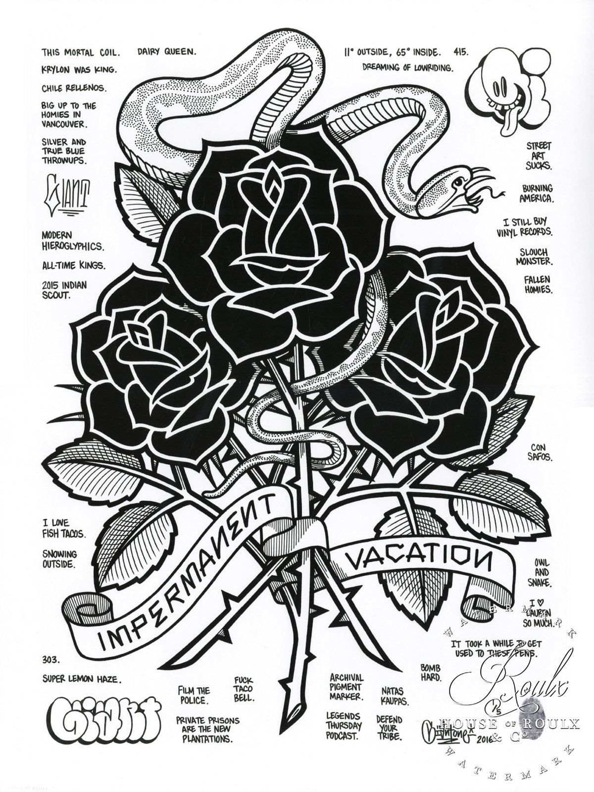 "Mike Giant"" Black Roses (Impermanent Vacation)"" - Hand-Embellished Unique Print, #2/5 - 24 x 36"