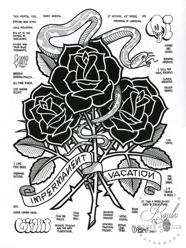 """Black Roses (Impermanent Vacation)"" by Mike Giant - Hand-Embellished Unique Print, #2/5 - 24 x 36"