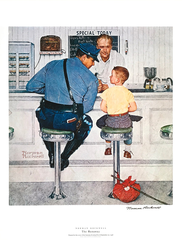 "Norman Rockwell - ""The Runaway"" - Signed Offset Print - 19 x 25"""