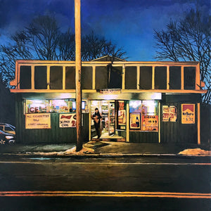 """Ryal Side Liquors"" by Andrew Houle - Original Oil Painting on Wood - 16 x 16"""