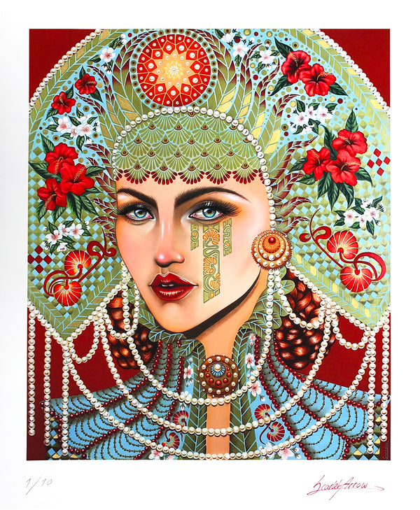 """Anna's Glance"" by Scarlet Arrow Finch - Hand-Embellished Unique Print, Limited Edition of 10 - 14 x 17"""