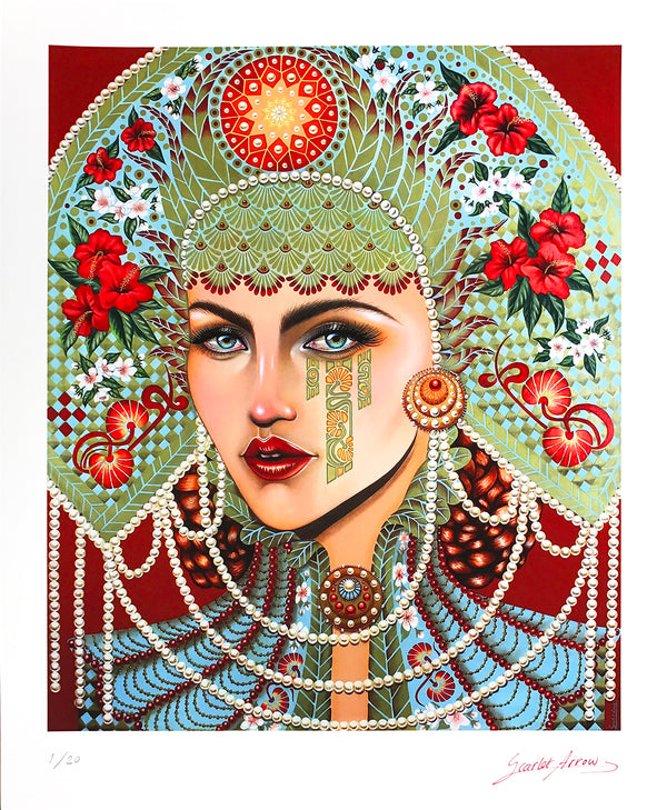 """Anna's Glance"" by Scarlet Arrow Finch - Archival Print, Limited Edition of 20 - 14 x 17"""