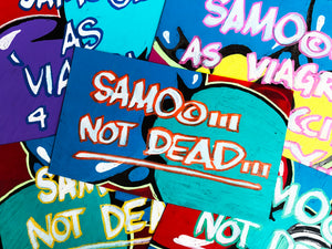 "Al Diaz & Nic 707 ""SAMO©…Not Dead"" - Original Paint on Plexiglass - 7.5 x 11"""