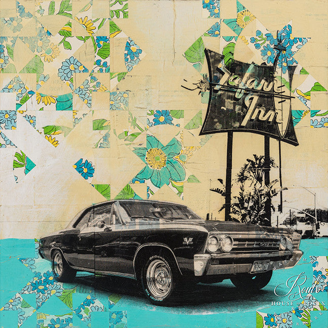"Robert Mars ""Safari Inn"" - Original Mixed Media and Resin on Wood"