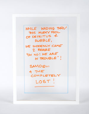 "Al Diaz ""SAMO©…"" - Original Ink on Plexiglass in Frame - 16 x 22 x 1"""