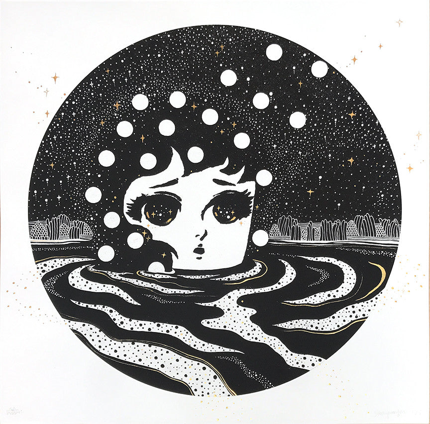 "Stickymonger ""Sand-Wind"" - Hand-Embellished Unique Print, #1/5"