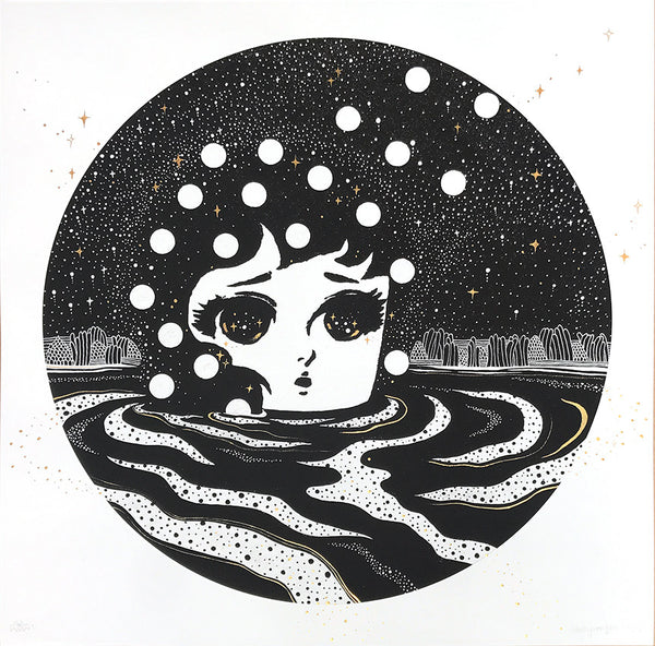 """Sand-Wind"" by Stickymonger - Hand-Embellished Unique Print, #1/5"
