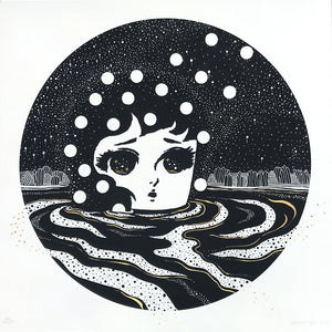 """Sand-Wind"" by Stickymonger - Hand-Embellished Unique Print, #4/5"