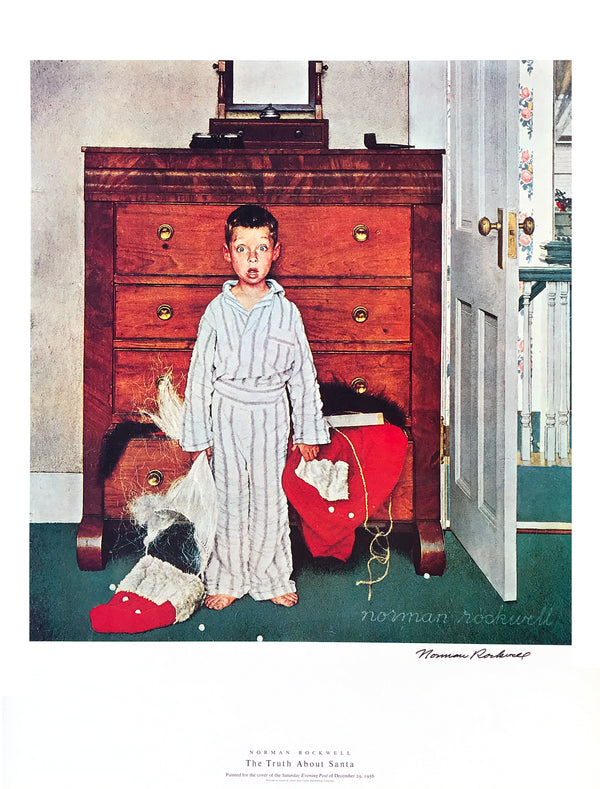 "Norman Rockwell - ""The Truth About Santa"" - Signed Offset Print - 19 x 25"""