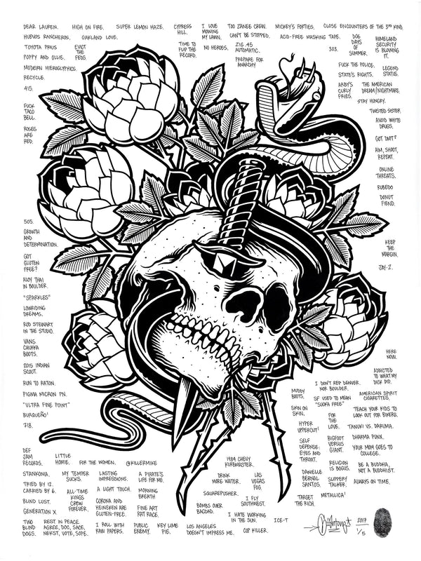"""Skull and Dagger"" by Mike Giant - Hand-Embellished Unique Print, #1/5 - 18 x 24"