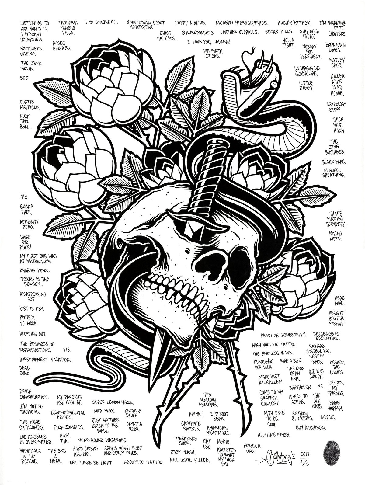 "Mike Giant ""Skull and Dagger"" - Hand-Embellished Unique Print, #2/5 - 18 x 24"