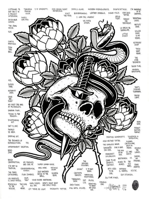"""Skull and Dagger"" by Mike Giant - Hand-Embellished Unique Print, #2/5 - 18 x 24"