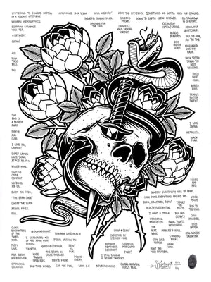 """Skull and Dagger"" by Mike Giant - Hand-Embellished Unique Print, #3/5 - 18 x 24"