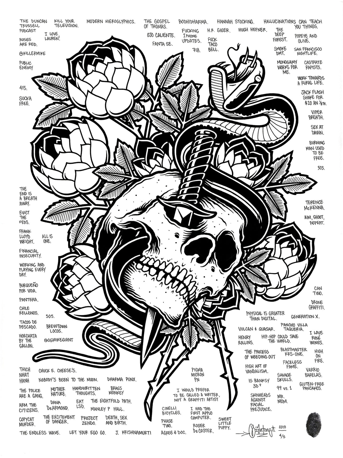 "Mike Giant ""Skull and Dagger"" - Hand-Embellished Unique Print, #4/5 - 18 x 24"