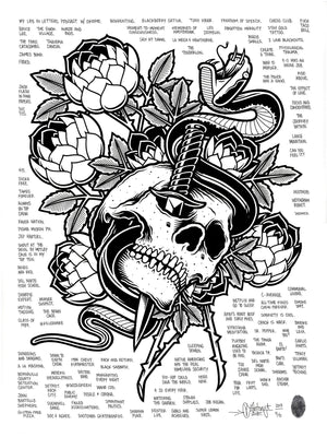 """Skull and Dagger"" by Mike Giant - Hand-Embellished Unique Print, #5/5 - 18 x 24"