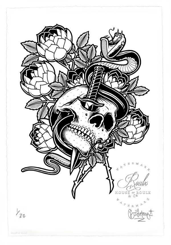 """Skull and Dagger"" by Mike Giant - Limited Edition, Archival Print - 13 x 19"