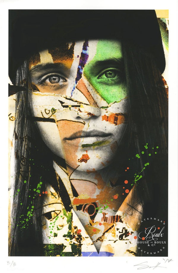 """Savannah (Lime)"" by Barry Sutton - Hand-Embellished Unique Print, #3/3"
