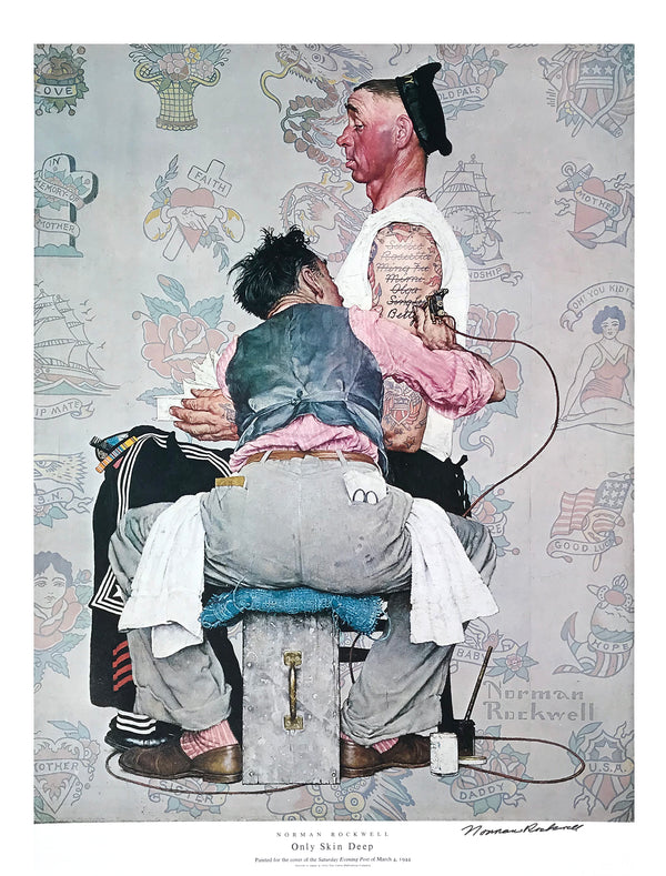 "Norman Rockwell - ""Only Skin Deep"" - Signed Offset Print - 19 x 25"""