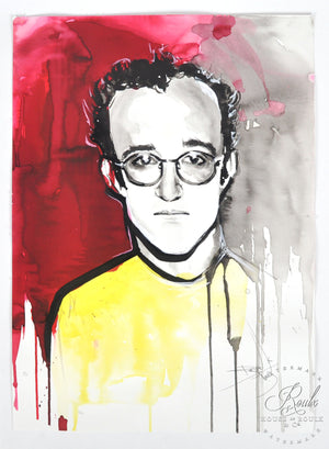 """Keith Haring"" by Therése Rosier - Original Watercolor Painting"
