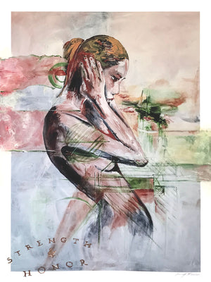 "Jennifer Jean Okumura ""Thinking Out Loud"" - Hand-Embellished Variant, 1 of 3 - 18 x 24"""