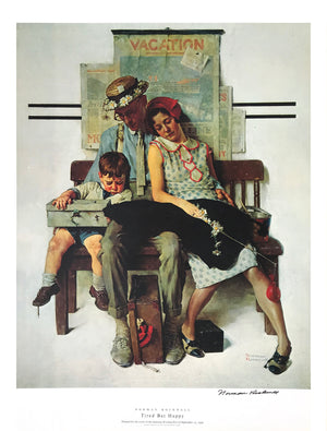 "Norman Rockwell - ""Tired But Happy"" - Signed Offset Print - 19 x 25"""