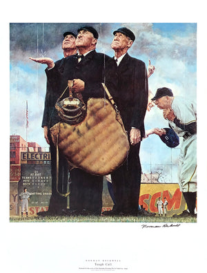 "Norman Rockwell - ""Tough Call"" - Signed Offset Print - 19 x 25"""