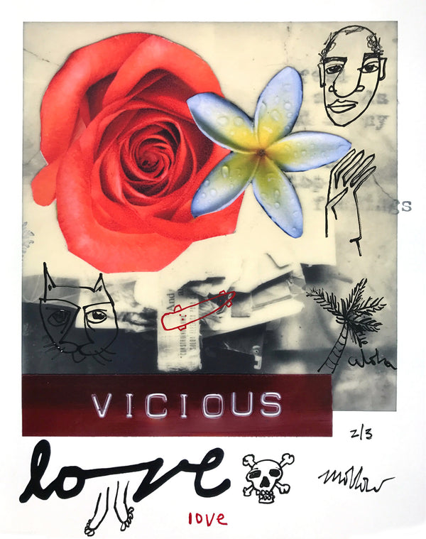 """Vicious Love"" by Mark Oblow - Hand-Embellished Unique Print, #2/3 - 16 x 20"""
