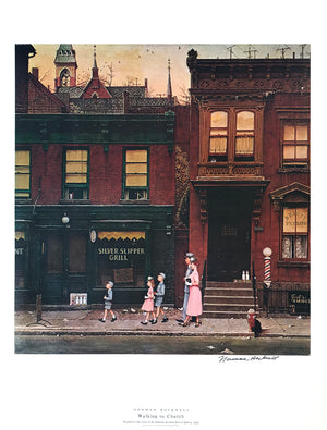 "Norman Rockwell - ""Walking to Church"" - Signed Offset Print - 19 x 25"""