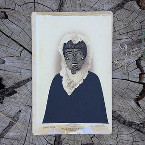 "Adrian Landon Brooks ""Warpaint #5"" - Original Painting on Vintage Cabinet Card Photograph"
