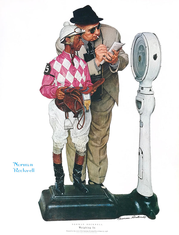 "Norman Rockwell - ""Weighing In"" - Signed Offset Print - 19 x 25"""