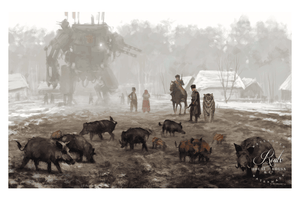"""1920 - Problem With Wild Boars"" by Jakub 'Mr. Werewolf' Rozalski - Fine Art Print"