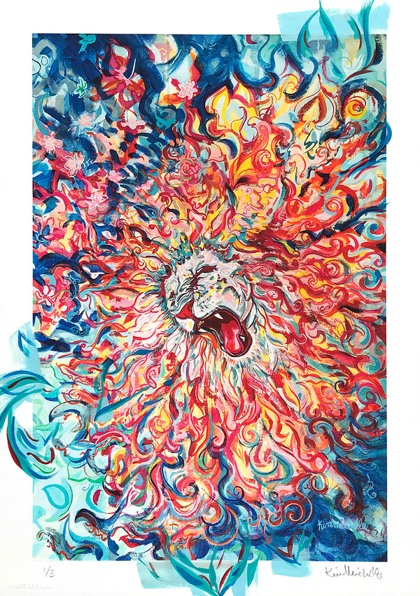 "Kim Michelle ""White Lion Roar"" - Hand-Embellished Variant, 1 of 3 - 12 x 17"""