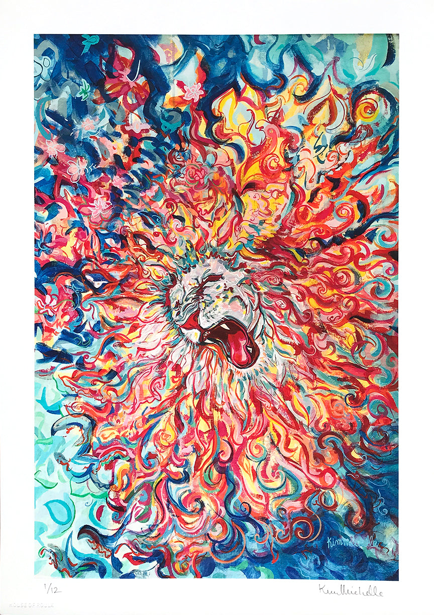 "Kim Michelle ""White Lion Roar"" - Archival Print, Limited Edition of 12 - 12 x 17"""