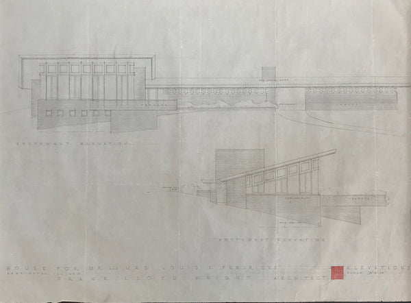 Frank Lloyd Wright - Signed Original Working Architecture Drawing