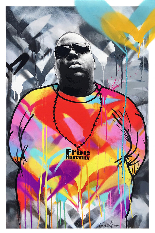 """Notorious B.I.G."" by Free Humanity - Hand-Embellished Print - 24 X 36"""