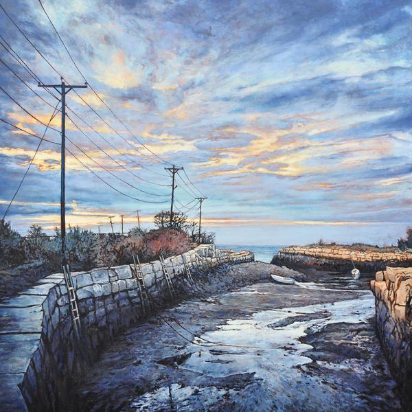 """Hodgkins Cove Landing"" by Andrew Houle - Original Oil Painting on Wood - 30 x 30"""