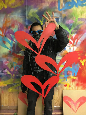 """Red Heart - Single"" by Free Humanity - Hand-Painted Cardboard Cut Out"