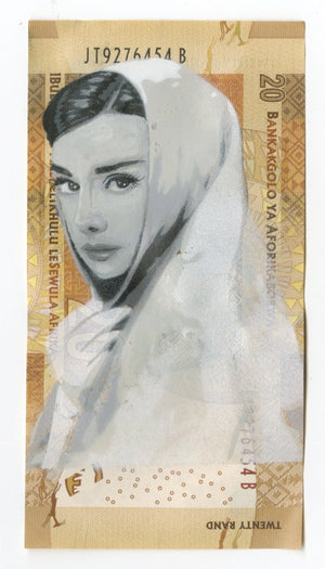 """Hepburn's Humanity"" by Free Humanity - Original Oil Painting on South African Rand"