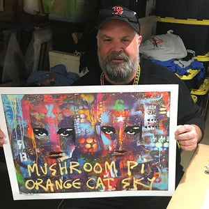 "Joey Mars ""Mushroom PI Orange Cat Sky"" - Hand-Embellished Variant, 1 of 3 - 18 x 24"""