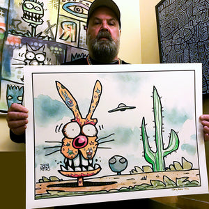 "Joey Mars ""Encounter with the Tattooed Rabbit"" - Hand-Embellished Variant, 1 of 3 - 18 x 24"""