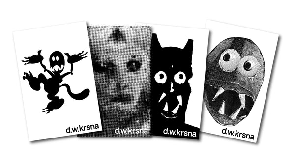 "d.w. krsna ""Jibb Wibbles"" - 4 x Vinyl Sticker Slap Pack - 4 x 6 Inches"