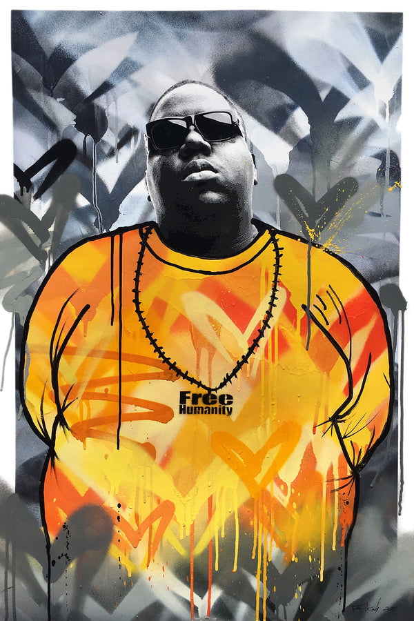 """Notorious B.I.G."" by Free Humanity - Hand-Painted Unique 1/1 - 24 X 36"""
