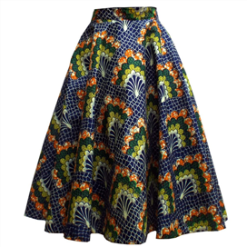 Casual High Waist African Print Midi Skirt