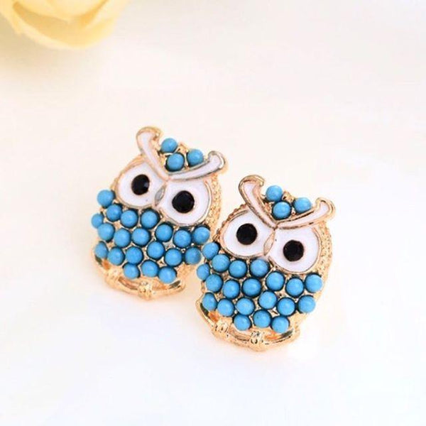 Owl Beads Earrings - Blue