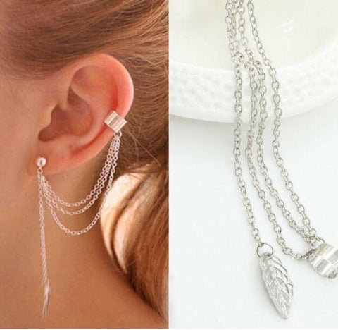 Trendy Leaf Shaped Tassel Chains Earring Cuff - tavoosfashion