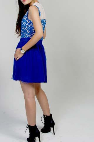 RUE LACE O-NEECK DRESS - COBALT - tavoosfashion